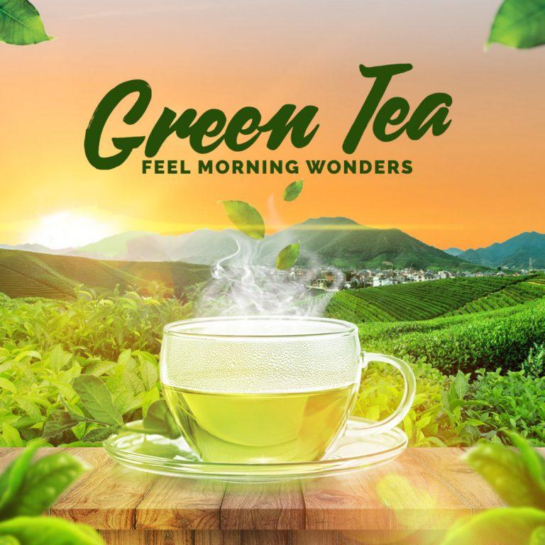 Green Tea poster design by Zakey Design